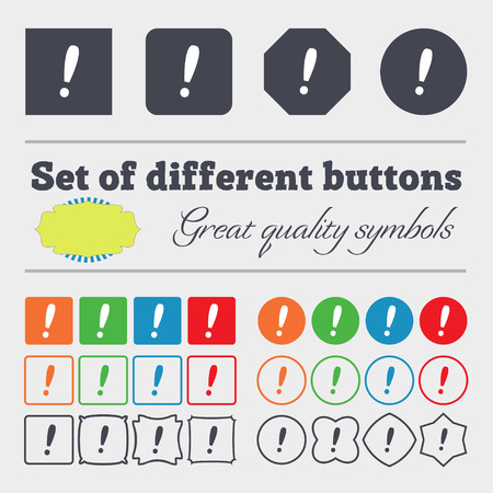 inform information: Exclamation mark sign icon. Attention speech bubble symbol. Big set of colorful, diverse, high-quality buttons. illustration
