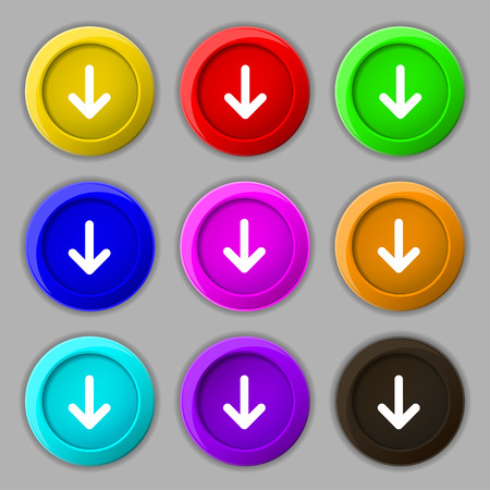down load: Arrow down, Download, Load, Backupicon sign. symbol on nine round colourful buttons. illustration Stock Photo