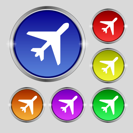 fender: airplane icon sign. Round symbol on bright colourful buttons. illustration