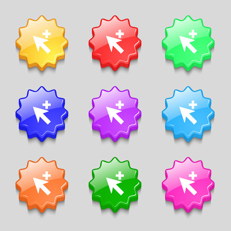 add icon: Cursor, arrow plus, add icon sign. Symbols on nine wavy colourful buttons. illustration