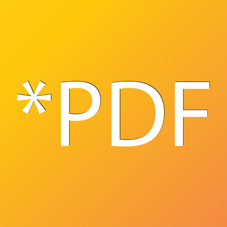 file extension: PDF file extension icon symbol Flat modern web design with long shadow and space for your text. illustration