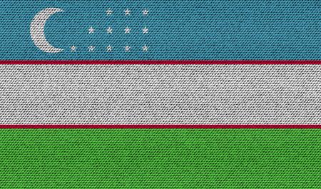 uzbekistan: Flags of Uzbekistan on denim texture. Vector illustration