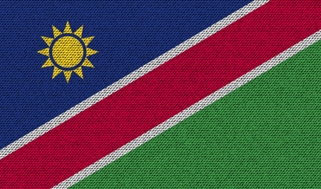 flagged: Flags of Namibia on denim texture. Vector illustration