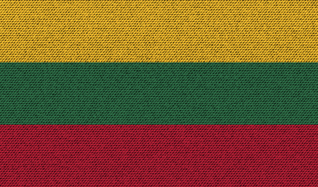 europe closeup: Flags of Lithuania. on denim texture. Vector illustration