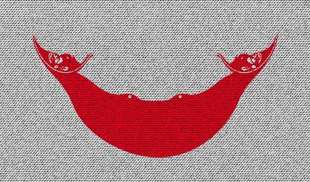 rapa nui: Flags of Eaaster Rapa Nui on denim texture. Vector illustration