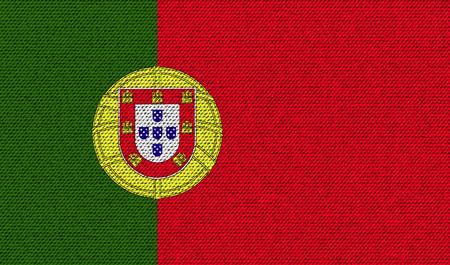 bandera de portugal: Banderas de Portugal en la textura de mezclilla. ilustraci�n vectorial