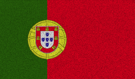 Flags of Portugal on denim texture. Vector illustration