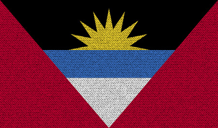 barbuda: Flags of Antigua and Barbuda on denim texture. Vector illustration