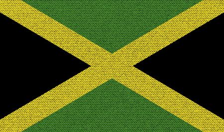 jamaican: Flags of Jamaica on denim texture. Vector illustration