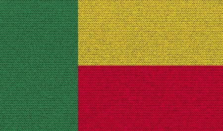 benin: Flags of Benin on denim texture. Vector illustration