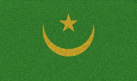 northwest africa: Flags of Mauritania on denim texture. Vector illustration Illustration