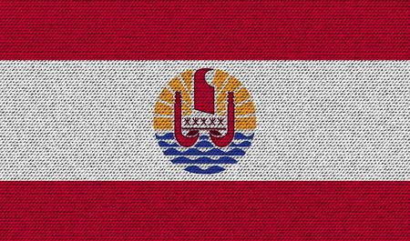 polynesia: Flags of french polynesia on denim texture. Vector illustration Illustration