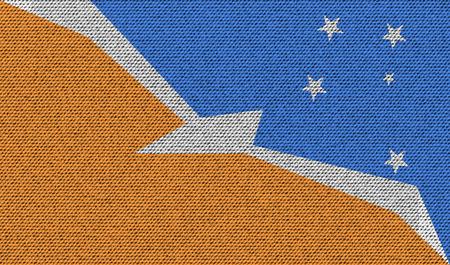 fuego: Flags of Tierra del Fuego Province on denim texture. Vector illustration