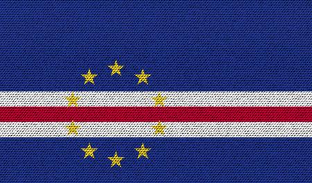 cape verde: Flags of Cape Verde on denim texture. Vector illustration