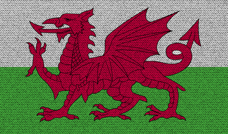 cymru: Flags of Wales on denim texture. Vector illustration