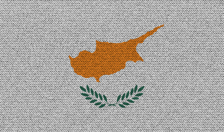proportional: Flags of Cyprus on denim texture. Vector illustration