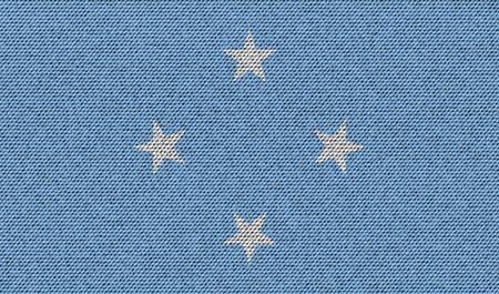 micronesia: Flags of Micronesia on denim texture. Vector illustration