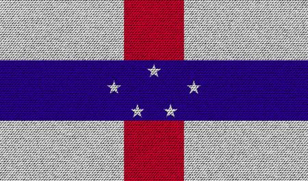 antilles: Flags of Netherlands Antilles on denim texture. Vector illustration