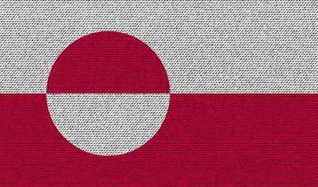 greenland: Flags of Greenland on denim texture. Vector illustration