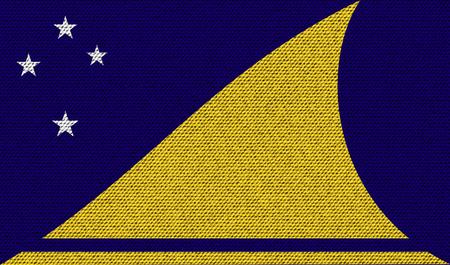 tokelau: Flags of Tokelau on denim texture. Vector illustration