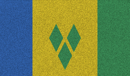 grenadines: Flags of Saint Vincent and Grenadines on denim texture. Vector illustration