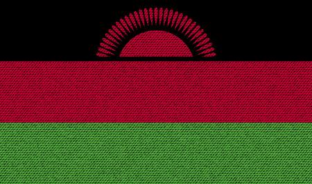 proportional: Flags of Malawi on denim texture. Vector illustration Illustration