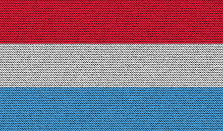 europe closeup: Flags of Luxembourg on denim texture. Vector illustration