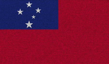 samoa: Flags of Samoa on denim texture. Vector illustration