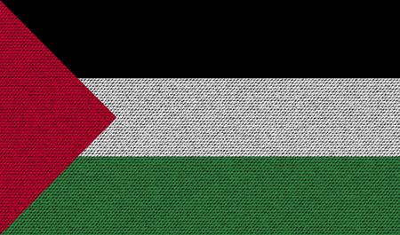palestine: Flags of Palestine on denim texture. Vector illustration Illustration