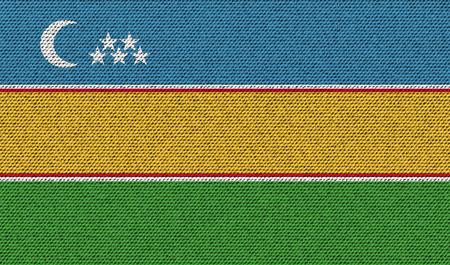 standards: Flags of Karakalpakstan on denim texture. Vector illustration