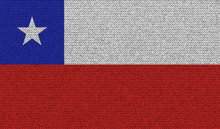 bandera de chile: Flags of Chile on denim texture. Vector illustration Vectores