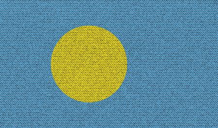 palau: Flags of Palau on denim texture. Vector illustration Illustration