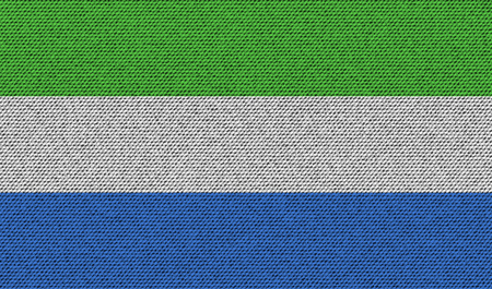 sierra: Flags of SIERRA lEONE on denim texture. Vector illustration