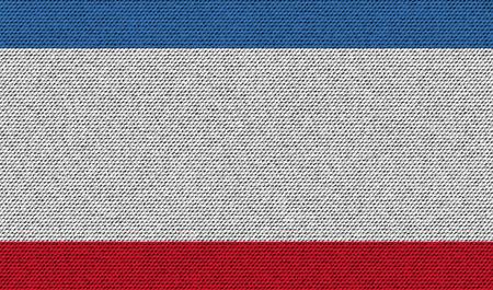 crimea: Flags of Crimea on denim texture. Vector illustration