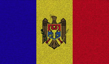 moldovan: Flags of Moldova on denim texture. Vector illustration Illustration