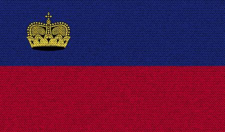 princely: Flags of Liechtenstein on denim texture. Vector illustration Illustration