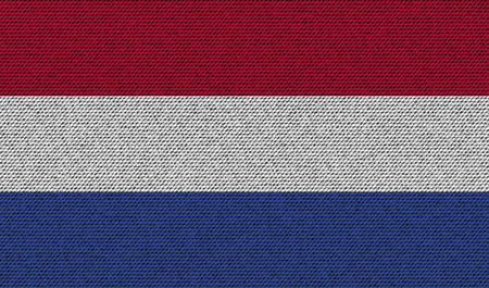 constitutional: Flags of Netherlands on denim texture. Vector illustration