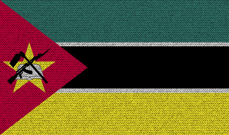 mozambique: Flags of Mozambique on denim texture. Vector illustration