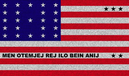 atoll: Flags of Bikini Atoll on denim texture. Vector illustration Illustration