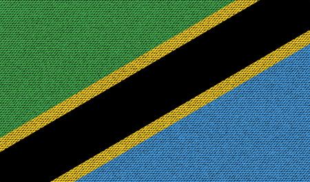 Flags of Tanzania on denim texture. Vector illustration