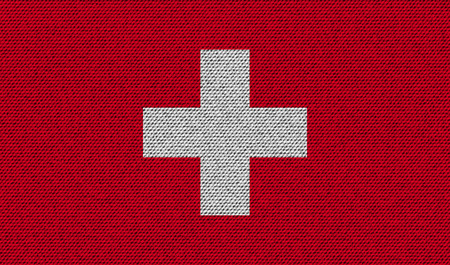 national symbol: Flags of Switzerland on denim texture. Vector illustration Illustration