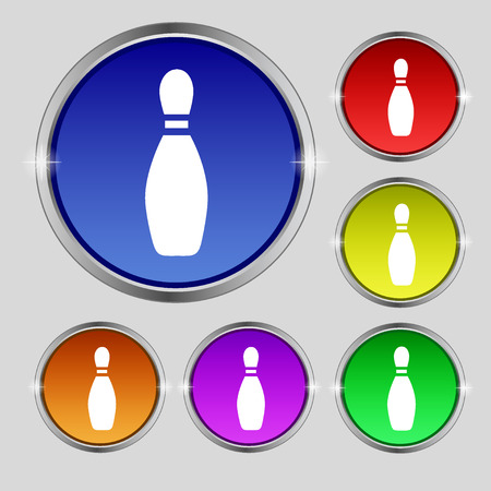 pin bowling icon sign. Round symbol on bright colourful buttons. Vector illustration
