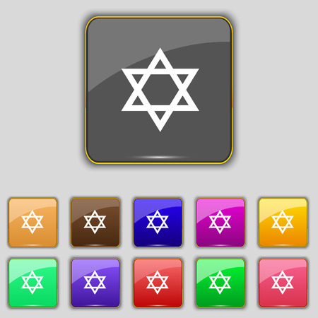 paganism: pentagram icon sign. Set with eleven colored buttons for your site. Vector illustration Illustration