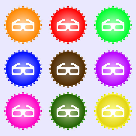 stereoscope: 3d glasses icon sign. A set of nine different colored labels. Vector illustration Illustration