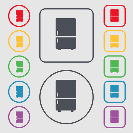 icebox: Refrigerator icon sign. symbol on the Round and square buttons with frame. Vector illustration
