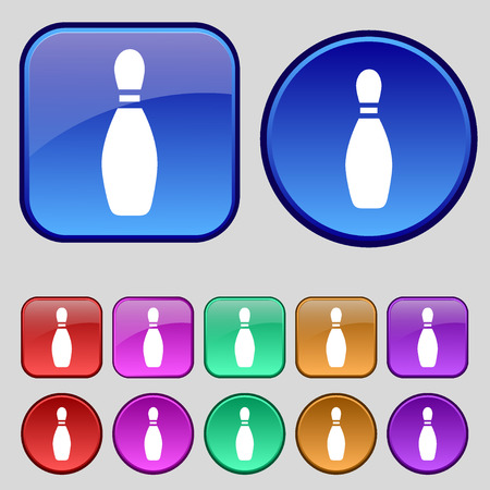 pin bowling icon sign. A set of twelve vintage buttons for your design. Vector illustration Иллюстрация