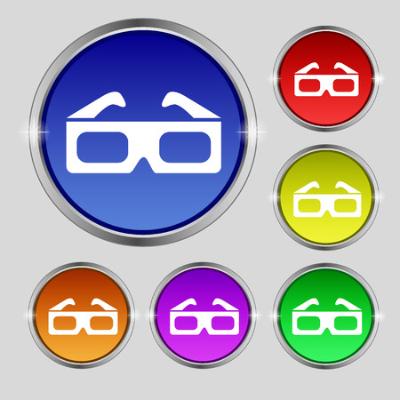 stereoscope: 3d glasses icon sign. Round symbol on bright colourful buttons. Vector illustration Illustration