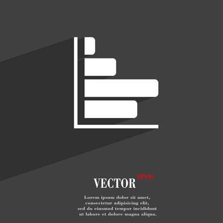 sales trend: Infographic symbol Flat modern web design with long shadow and space for your text. Vector illustration