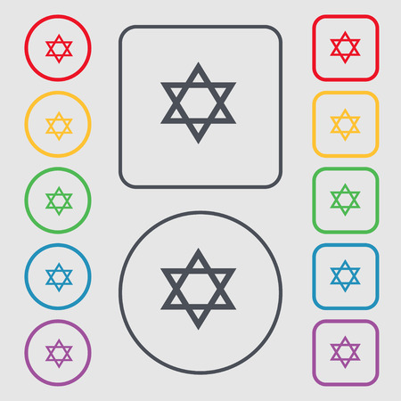 blasphemy: pentagram icon sign. symbol on the Round and square buttons with frame. Vector illustration Illustration