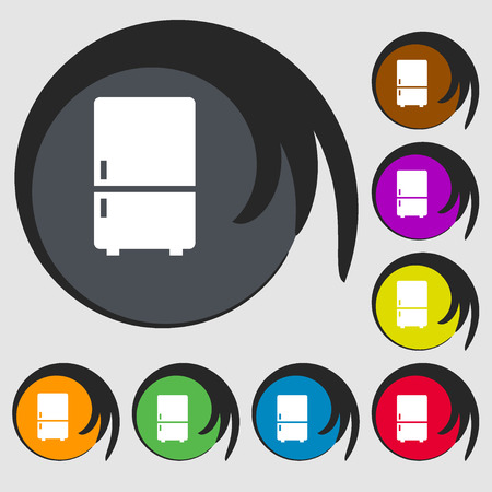 refrigeration: Refrigerator icon. Symbols on eight colored buttons. Vector illustration